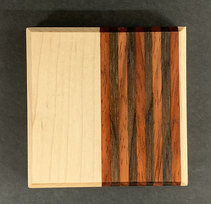 Contrast Coaster Set with Maple, Walnut, and Paduk