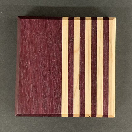 Contrast Coaster Set with Maple, and Purple Heart