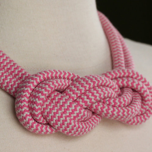 Pink & Cream Rope Necklace