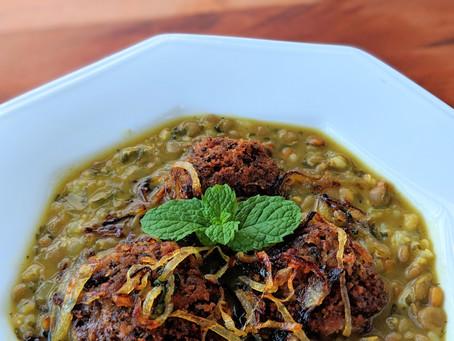 Persian Split Pea Soup with Lamb/Mushroom Meatballs