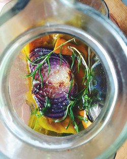 Home grown peppers, onion & herbs roaste