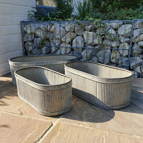 Ribbed Metal Planters - Set of 3