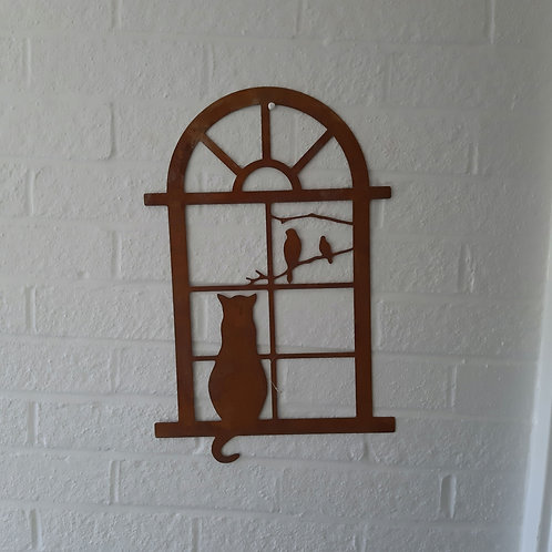 Mild corten steel cat window wall art