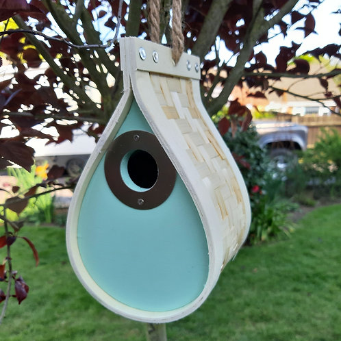 Hanging Dew Drop Style Bamboo Nest Box. Approx 22cm x 13cm