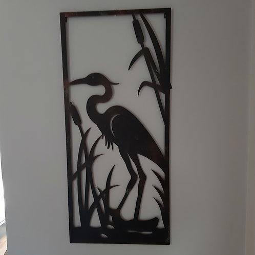 Heron Metal Wall Art. Approx 100cm x 45cm