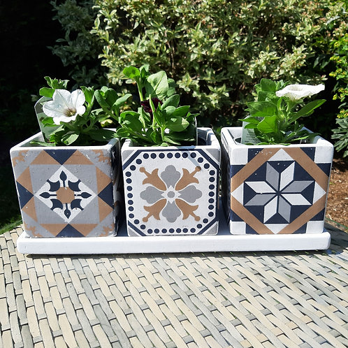 Portuguese Inspired Triple Planter Set On Tray