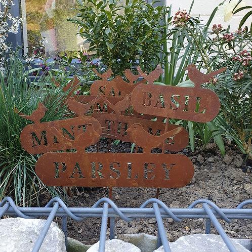 Rusty Metal Herb Signs