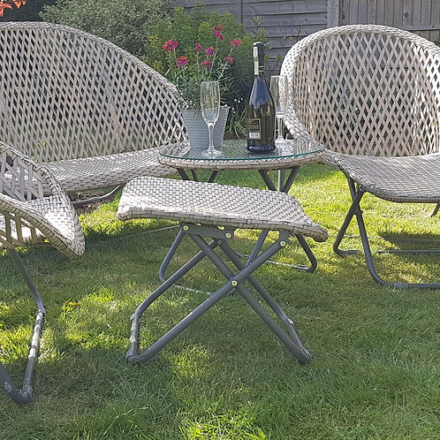 Folding Lounger Footstools - Pair
