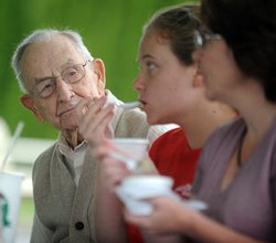 hopkintons oldest resident eatting ice cream