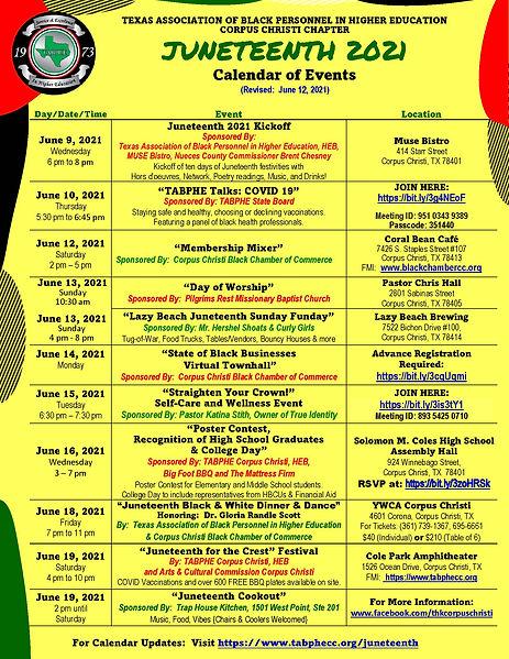 JUNETEENTH 2021 CALENDAR OF EVENTS (Rev.