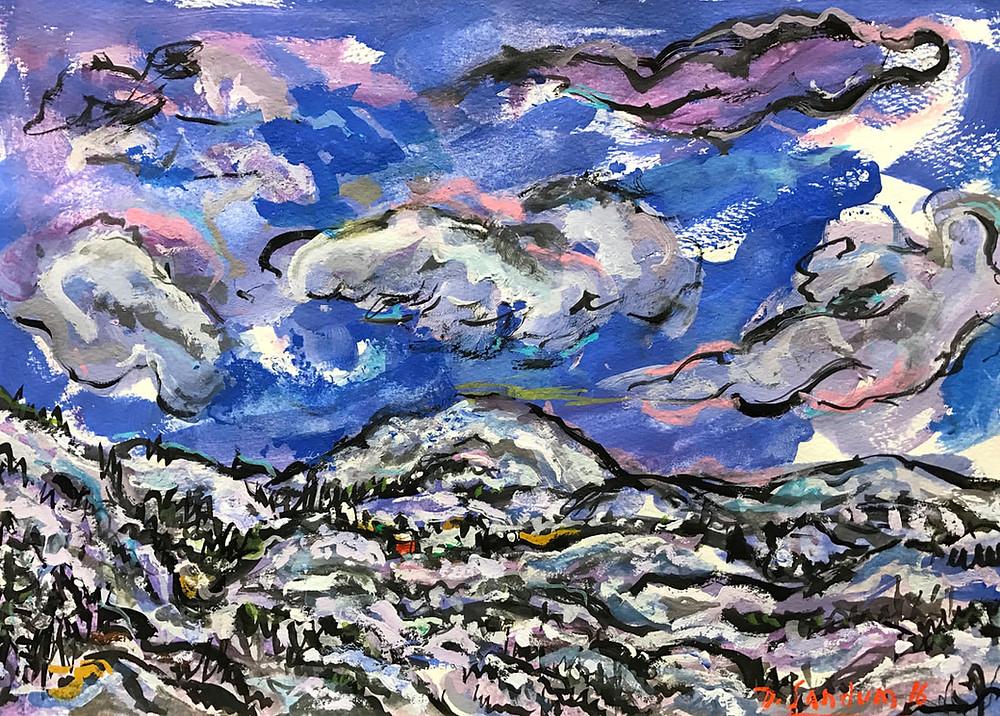 "David Sandum, ""Winter Clouds"" | Gouache | 2016"