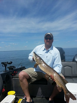 Mille lacs fishing guide client mark with a 40 inch pike