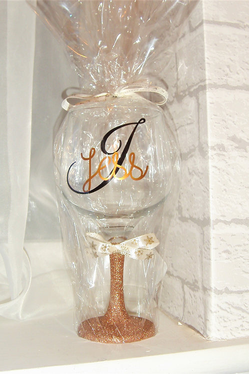 Personalised Large Gin Glass with glitter base
