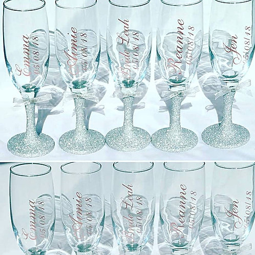 Personalised Champagne Glass, Choice of Colour Glitter Name | Vivid Vinyls