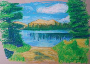 uni scenery oil pastels forest lake.jpg