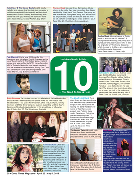 Top 10 Area's Hottest Artists! Good Times Magazine, May 2019
