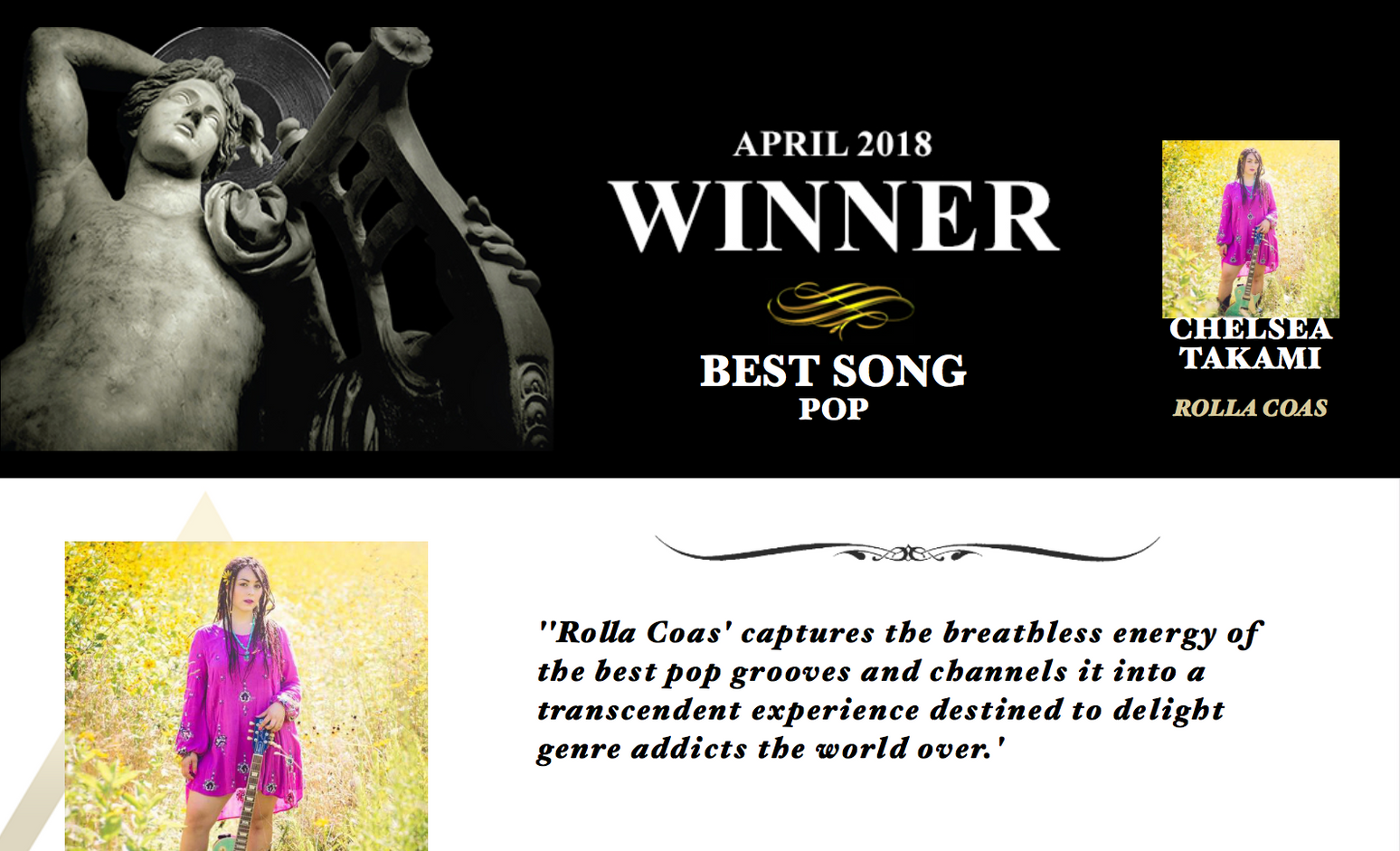 "Rolla Coas: Winner, ""Best Pop Song,"" WNYR Radio, NYC"