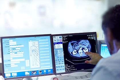Image of medical scan and database options