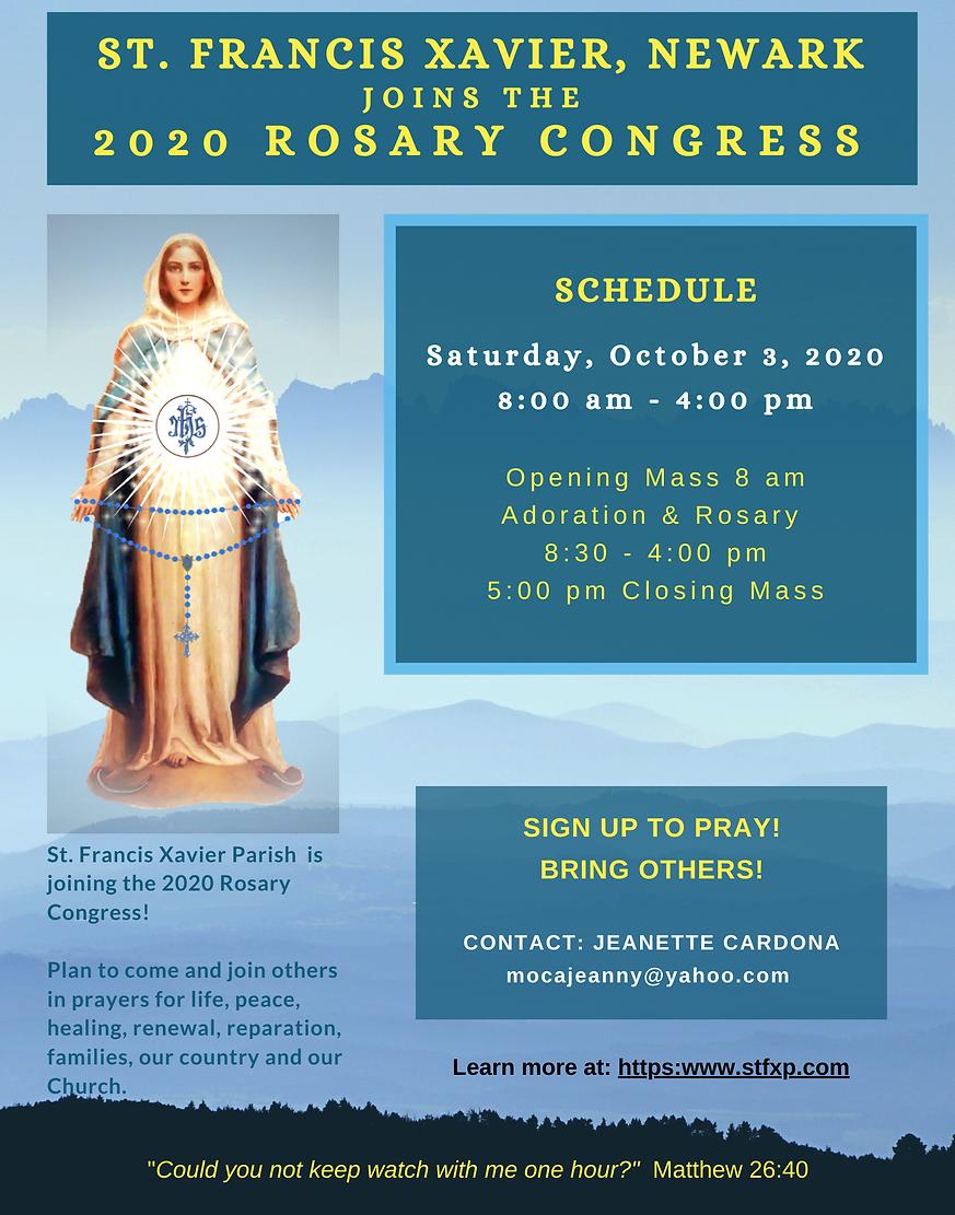 St. Francis Xavier 2020 rosary congress.