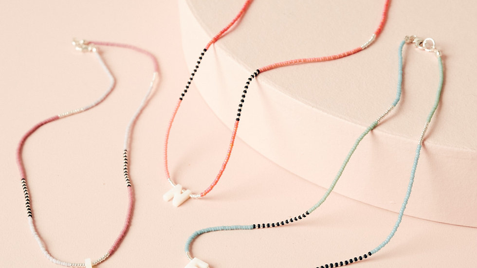 The Mother of Pearl Colour-pop Initial Necklace