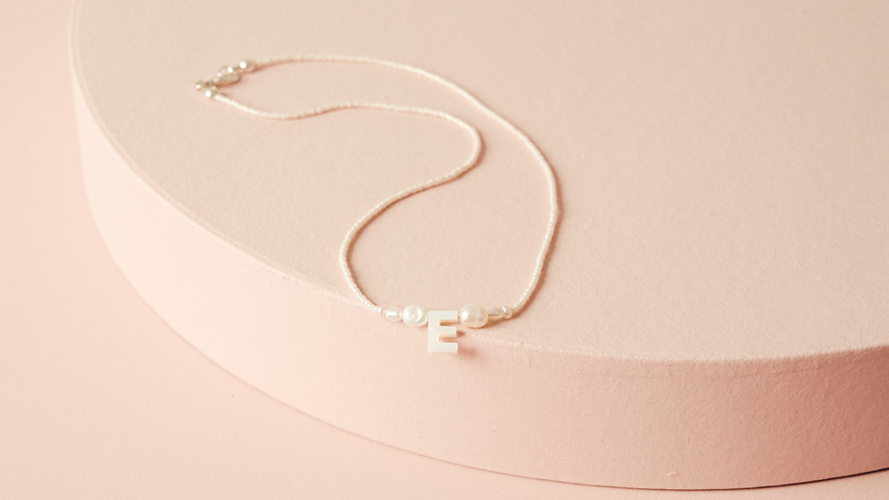 The Mother of Pearl Classic Initial Necklace