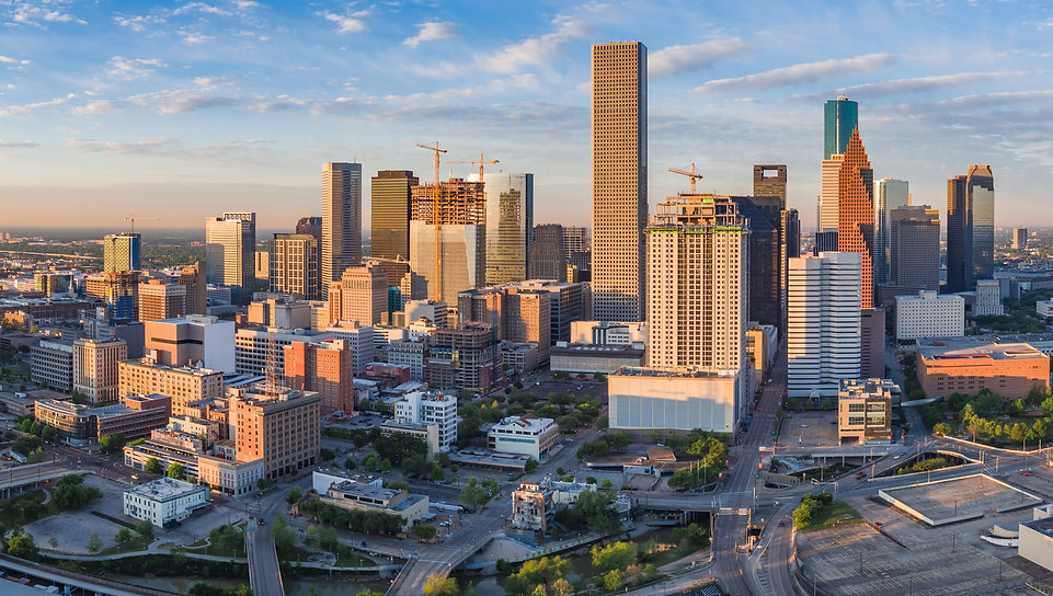 Aerial panorama view of downtown Houston