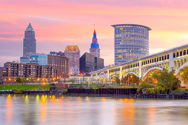 View of downtown Cleveland skyline in Oh