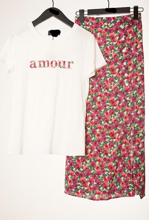 Jupe longue  fleurs rose