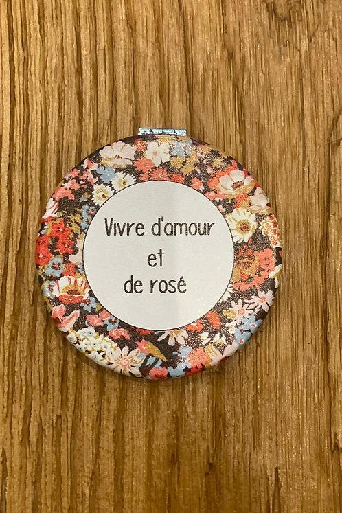 """Miroir """"Vivre d'amour et de rosé"""""""