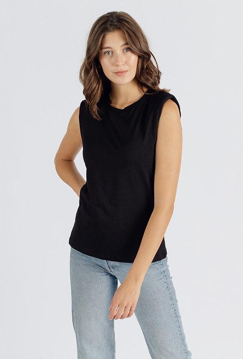 T-shirt sans manches épaulettes noir