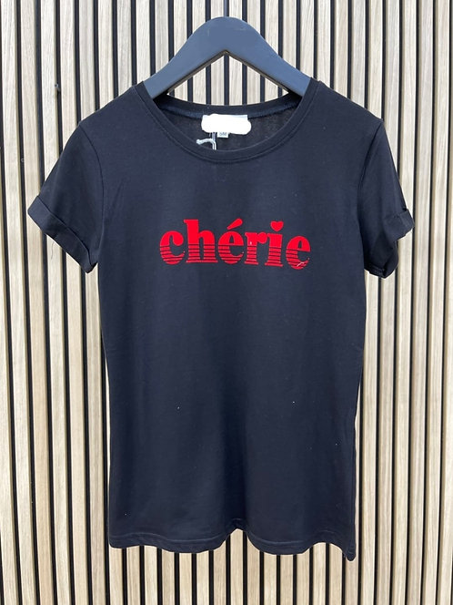 """T-Shirt """"Chérie"""" noir"""
