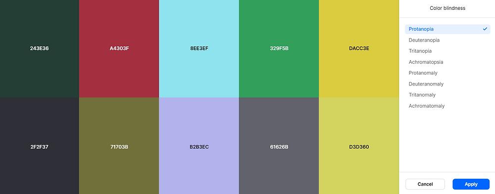 Coolors.co colour palette for colour blindness