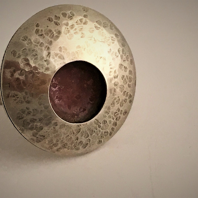 Hollow Form Sterling Ring with Patinated Copper Interior