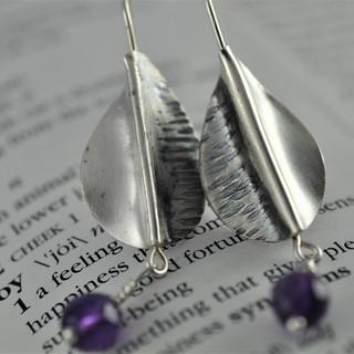 Silver Fold Form Earrings with Amethyst Drops