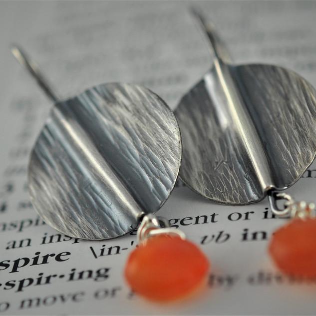 Fold Form Earrings in Sterling with a Carnelian Drops