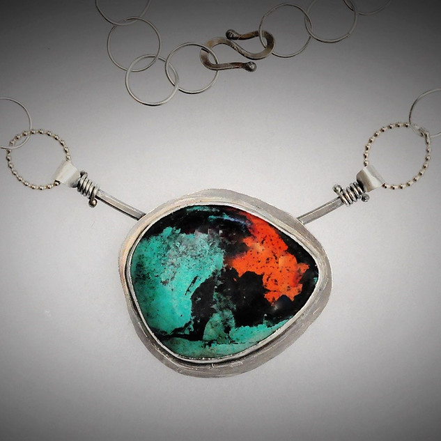 Sterling Pendant with Sonoran Sunset Stone Inset and Handmade Chain