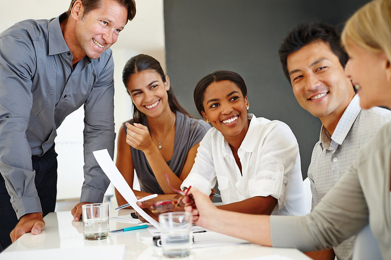 Multicultural team smiling