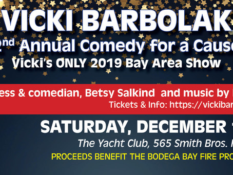 VICKI BARBOLAK raises funds for Bodega Bay Fire Department