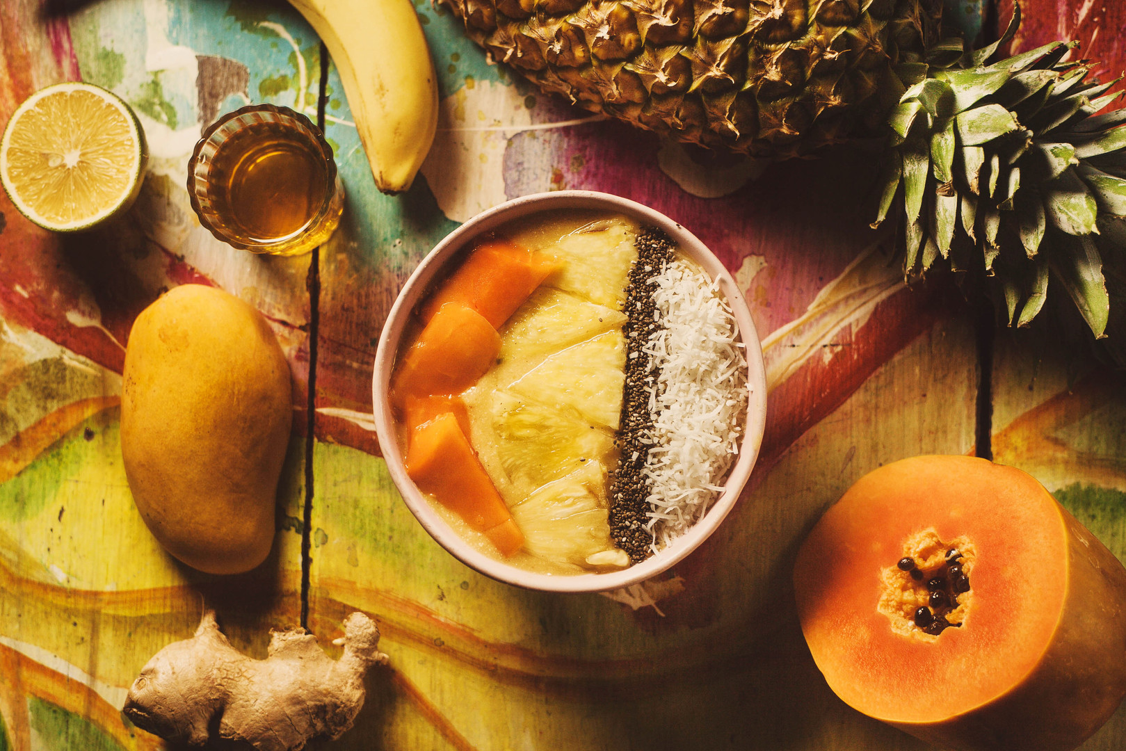 tropical fruit bowl - healthy breakfast