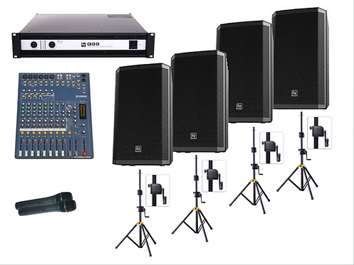 4 Speaker PA System (incl. 2 x Hand Mic)