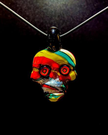 Pendy Skull Rasta Murano Glass #1