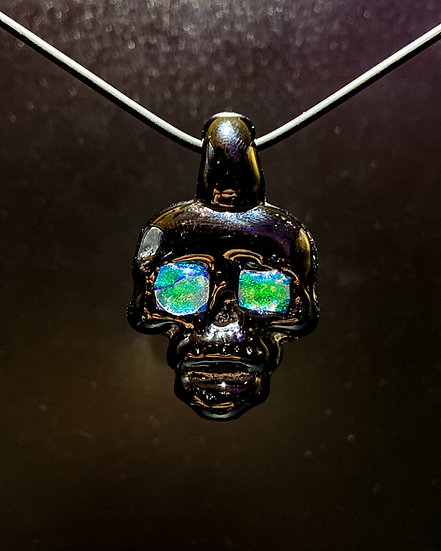 Pendy Skull Black Murano Glass #3