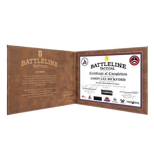 Battleline Tactical - Course Certificate Display
