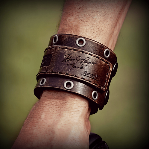 Forj'd - John 15:13 Leather Cuff with Tanto Signature