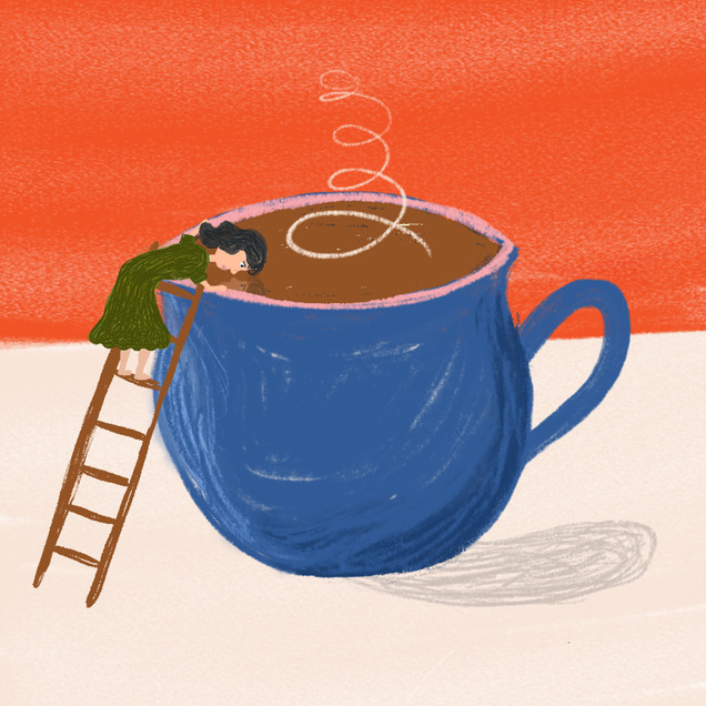 Reflect with a Nice Cup of Tea Illustration