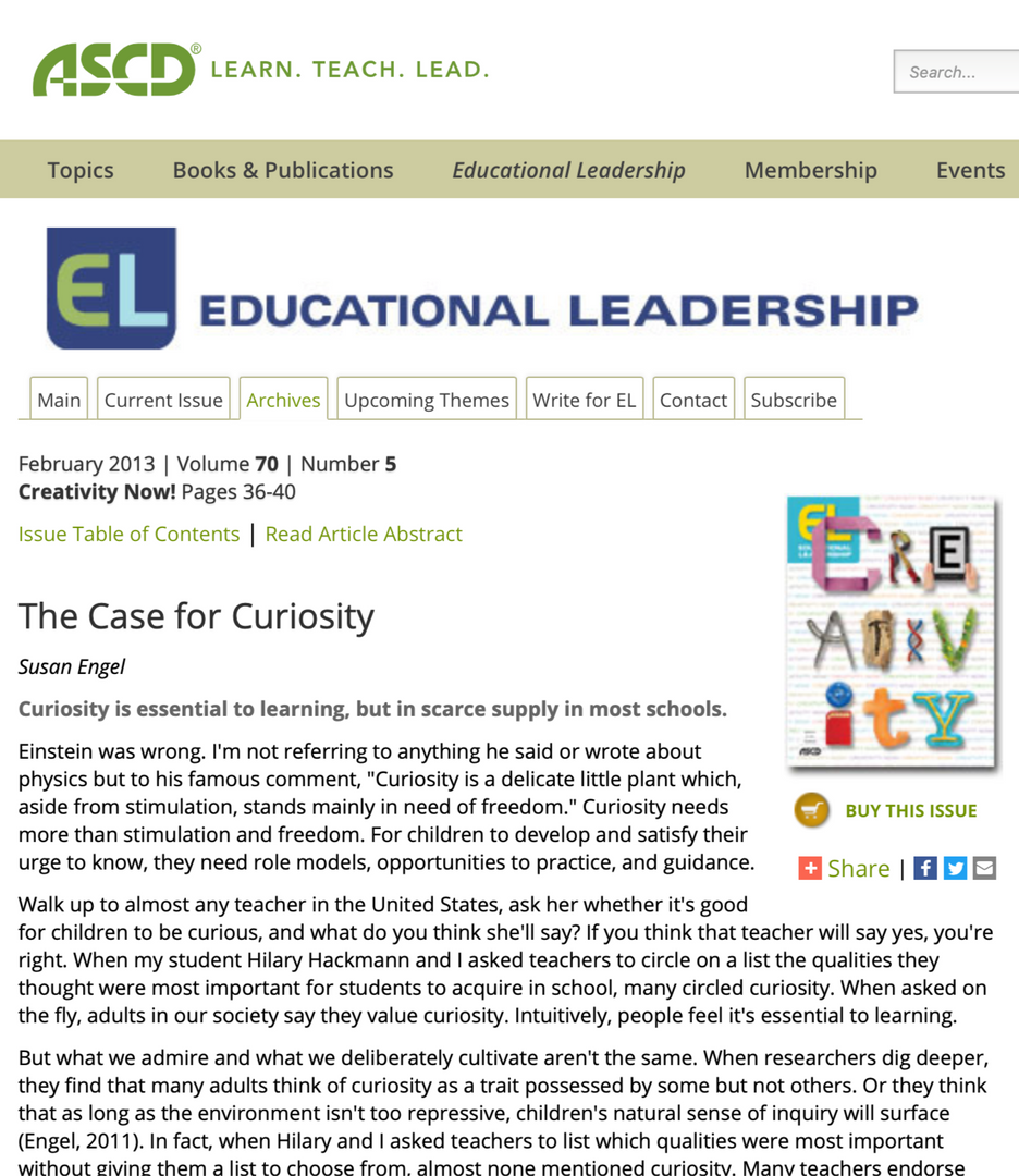 The Case for Curiosity in Schools