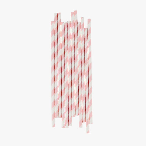Pink Stripe Straws