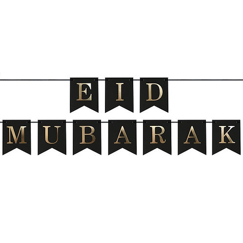 Black & Gold Eid Mubarak Bunting