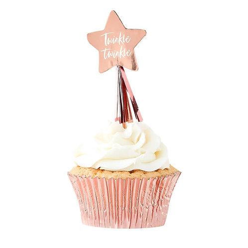 Rose Gold Star Cupcake Topper