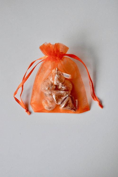 Orange Organza Drawstring Bag